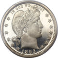 Proof Barber Quarters, 1893 25C PR67 Deep Cameo PCGS. CAC....