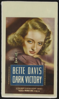 "Dark Victory (Warner Brothers,1939). Midget Window Card (8"" X 14""). This three hankie weeper has long been hel..."