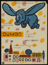"""Dumbo (RKO, 1947). Polish Poster (16.5"""" X 22.5"""") Post-War Release. Animated Children's. Directed by Samuel Arm..."""