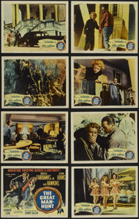 """The Great Manhunt (Columbia, 1950). Lobby Card Set of 8 (11"""" X 14""""). Thriller. Directed by Sidney Gilliat. Sta..."""
