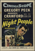 "Movie Posters:Drama, Night People (20th Century Fox, 1954). One Sheet (27"" X 41"").Adventure. Directed by Nunnally Johnson. Starring Gregory Peck..."