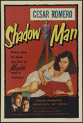 "Movie Posters:Crime, Shadow Man (Lippert Pictures, Inc., 1953). One Sheet (27"" X 41"").Crime. Directed by Richard Vernon. Starring Cesar Romero, ..."