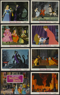 """Sleeping Beauty (Buena Vista, R-1970). Lobby Card Set of 8 (11"""" X 14""""). Animated Fantasy. Directed by Clyde Ge..."""