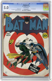 Batman #7 (DC, 1941) CGC VG/FN 5.0 Off-white pages. Bob Kane's bullseye cover had kids reaching for their dimes, and onc...