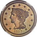Proof Large Cents, 1857 1C Small Date PR65 Brown NGC. CAC. N-5, High R.5....