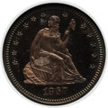 Proof Seated Quarters: , 1867 25C PR64 Cameo NGC. NGC Census: (16/13). PCGS Population(8/11). ...