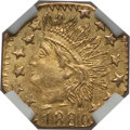 California Fractional Gold: , 1880 25C Indian Octagonal 25 Cents, BG-799L, High R.5, MS64 NGC.PCGS Population (12/8). ...