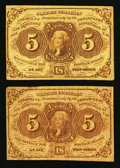 Fractional Currency:First Issue, Two Fr. 1230 5¢ First Issue Notes Fine-Very Fine or Better.. ... (Total: 2 notes)