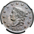 Large Cents, 1820 1C Small Date MS64+ Brown NGC. N-15, R.2. Our EAC Grade MS60....