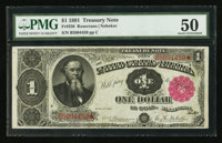 Fr. 350 $1 1891 Treasury Note PMG About Uncirculated 50