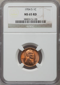 1954-S 1C MS65 Red NGC. NGC Census: (435/5001). PCGS Population (1171/3722). Mintage: 96,190,000. Numismedia Wsl. Price...