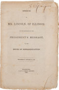 Books:Americana & American History, [Abraham Lincoln]. Imprint of Congressman Abraham Lincoln's Speechin the House, 1848....