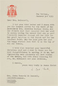 """Autographs:Non-American, Pope Pius XII (as Cardinal Pacelli) Typed Letter Signed """"E. Card, Pacelli.""""..."""