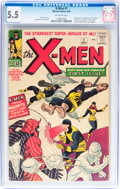 Silver Age (1956-1969):Superhero, X-Men #1 (Marvel, 1963) CGC FN- 5.5 Off-white pages....