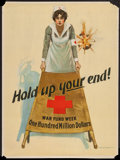 "Movie Posters:War, World War I Propaganda (U.S. Printing Office, 1917). Red CrossPoster (20.5"" X 27.5"") ""Hold Up Your End!"" War.. ..."