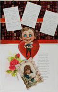 Miscellaneous:Ephemera, Group of Vintage Cards. Includes three vintage greeting cards and amicrofiche set of victorian bookbindings. Very good cond...