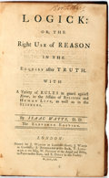 Books:Philosophy, Isaac Watts. Logick: or the Right Use of Reason in the Inquiry After Truth. London: Printed for J. Waugh, etc. 1760....