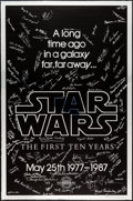 "Movie Posters:Science Fiction, Star Wars (Killian Enterprises, R-1987). 10th Anniversary SilverMylar Signed One Sheet (27"" X 41"") Style A. Science Fiction..."