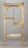 Furniture , A FRENCH-STYLE GILT METAL ÉTAGÈRE WITH ONYX SHELVES . Late 19th century. 48 x 22 x 12-1/2 inches (121.9 x 55.9 x 31.8 cm). ...