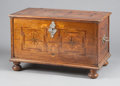 Furniture : Continental, A GERMAN PARQUETRY TRUNK WITH SILVERED HARDWARE. 18th century.26-1/2 x 43 x 24-1/4 inches (67.3 x 109.2 x 61.6 cm). ...