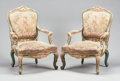 Furniture , A PAIR OF LOUIS XV-STYLE PARCEL GILT AND TAPESTRY UPHOLSTERED ARM CHAIRS. 19th century. 42-1/2 x 29 x 27 inches (108.0 x 73.... (Total: 2 Items)