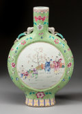 Asian:Chinese, A CHINESE PAINTED PORCELAIN PILGRIM JAR. Second half 20th century.17-1/2 x 12 x 2-3/4 inches (44.5 x 30.5 x 7.0 cm). ...