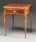 Furniture , A NAPOLEON III MAHOGANY AND FRUITWOOD VENEERED, GILT BRONZE MOUNTED HANDKERCHIEF GAME TABLE . Circa 1860. 29-3/4 x 24 x 24 i...