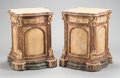 Furniture : Continental, A PAIR OF ITALIAN-STYLE FAUX PAINTED AND PARCEL GILT PEDESTALS.Second half 20th century. 31-1/4 x 23 x 23 inches (79.4 x 58...(Total: 2 Items)