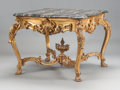 Furniture : French, A LOUIS XV-STYLE CARVED GILT WOOD SALON TABLE WITH MARBLE TOP. 19thcentury. 33-1/4 x 42 x 42 inches (84.5 x 106.7 x 106.7 c...