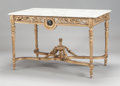 Furniture : French, A LOUIS XVI-STYLE GILT BRONZE SALON TABLE WITH INSET PIETRA DURA PLAQUES AND MARBLE TOP. Circa 1900. 31 x 47-1/2 x 30-1/2 in...