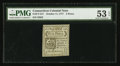 Colonial Notes:Connecticut, Uncancelled Connecticut October 11, 1777 5d PMG About Uncirculated53 EPQ.. ...