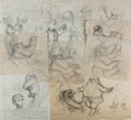 Books:Original Art, Garth Williams. Group of Nine Original Sketches From The Christmas Santa Almost Missed. Published by Family Circle...