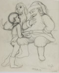 Books:Original Art, Garth Williams. Original Sketch of Santa Claus with Dog and Boy. From The Christmas Santa Almost Missed published by Fam...