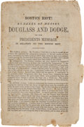 Books:Americana & American History, Imprint: Boston Riot! Remarks of Messrs. Douglass and Dodge onthe President's Message in Relation to the Boston Riot....