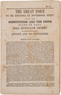 Books:Americana & American History, [Abraham Lincoln]. 1860 Presidential Campaign Imprint Issued by the National Democratic Executive Committee...