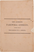 Books:Americana & American History, [Andrew Jackson]. Imprint: Gen. Jackson's Farewell Address,Together with His Proclamation to S. Carolina...