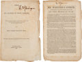 Books:Pamphlets & Tracts, [Abraham Lincoln] and [Mexican War]. Two Imprints of Senate Speeches Regarding the Mexican War.... (Total: 2 Items)