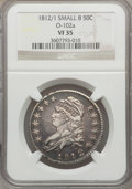 Bust Half Dollars: , 1812/1 50C Small 8 VF35 NGC. O-102a. NGC Census: (5/82). PCGSPopulation (13/106). Numismedia Wsl. Price for problem free...