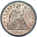 Seated Dollars, 1843 $1 MS62 PCGS. CAC....