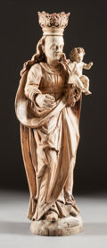 Decorative Arts, Continental:Other , A CONTINENTAL GOTHIC-STYLE CARVED WOOD FIGURE OF THE MADONNA ANDCHILD . 18th century. 37 x 14 x 8 inches (94.0 x 35.6 x 20....