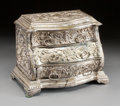 Decorative Arts, French:Other , A FRENCH SILVERED BRONZE MINIATURE COMMODE . 20th century. 7 x9-1/4 x 5-1/4 inches (17.8 x 23.5 x 13.3 cm). ...