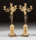 Decorative Arts, French:Lamps & Lighting, A PAIR OF CHARLES X GILT AND PATINATED BRONZE FIGURAL FOUR-LIGHTCANDELABRA . Circa 1900. 21 inches high (53.3 cm). ... (Total: 2Items)
