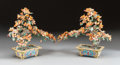 Asian:Chinese, A PAIR OF CHINESE JADE TREES ON CLOISONNÉ BASES. 20th century. 14-1/4 inches high x 17 inches wide (36.2 x 43.2 cm). ... (Total: 2 Items)