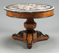 Furniture , A CHARLES X BURL WALNUT CENTER TABLE WITH SPECIMEN MARBLE TOP. 20th century. 27-3/4 inches high x 38 inches diameter (70.5 ...