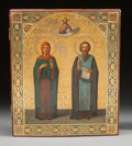 Decorative Arts, Continental:Other , A RUSSIAN ICON WOOD PANEL WITH HINGES. 18th century. 17-1/2 incheshigh x 14-3/4 inches wide (44.5 x 37.5 cm). ...