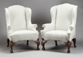 Furniture , A PAIR OF IRISH MAHOGANY AND UPHOLSTERED WING CHAIRS . 19th century. 48 x 24 x 26 inches (121.9 x 61.0 x 66.0 cm). ... (Total: 2 Items)