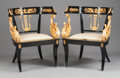 Furniture : French, A PAIR OF FRENCH EMPIRE-STYLE EBONIZED WOOD AND GILT BRONZE MOUNTED KLISMOS-FORM ARM CHAIRS. 20th century. 30-1/2 x 24 x 20 ... (Total: 2 Items)