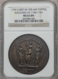 Betts Medals, Betts-419. 1758,1759 British-American Victories. Brass. MS63NGC....