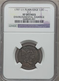 Half Cents, 1797 1/2 C 1 Above 1, Plain Edge -- Environmental Damage -- NGCDetails. XF. C-1. ...