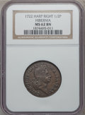 Colonials: , 1722 1/2P Hibernia Halfpenny, Type Two, Harp Right MS62 Brown NGC.NGC Census: (1/1). PCGS Population (5/2). ...